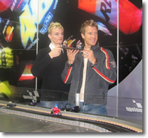 Image of Chaz with Neil Hodgson at the launch of the new MotoGP Scalextric